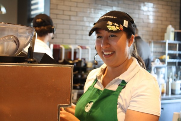 When other students at the University of Alabama are in class, Nora Samoya makes cappuccinos and helps customers at Starbucks.  Samoya, a junior here at the University, is thankful for the opportunity that Starbucks has given her.